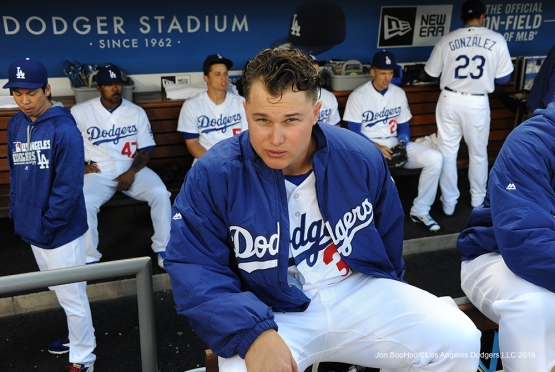 Joc Pederson poses prior to game against the Cincinnati Reds Monday, May 23,2016 at Dodger Stadium in Los Angeles,California. Photo by Jon SooHoo