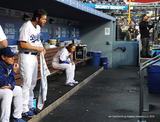 Los Angeles Dodgers Clayton Kershaw in the dugout against the Cincinnati Reds Monday, May 23,2016 at Dodger Stadium in Los Angeles,California. Photo by Jon SooHoo