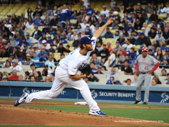 Los Angeles Dodgers Clayton Kershaw pitches against the Cincinnati Reds Monday, May 23,2016 at Dodger Stadium in Los Angeles,California. Photo by Jon SooHoo