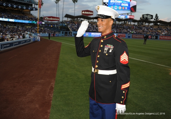 Los Angeles Dodgers Military Hero of the Game US Marines Cory Sergeant, Cory Lemelle during game against the Cincinnati Reds Monday, May 23,2016 at Dodger Stadium in Los Angeles,California. Photo by Jon SooHoo