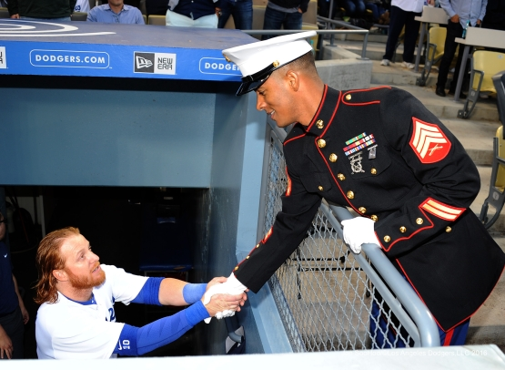 Los Angeles Dodgers Military Hero of the Game US Marines Cory Sergeant, Cory Lemelle shakes hands with Justin Turner during game against the Cincinnati Reds Monday, May 23,2016 at Dodger Stadium in Los Angeles,California. Photo by Jon SooHoo