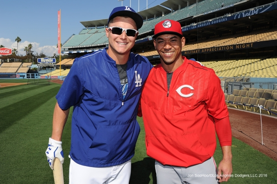 Joc Pederson and Ivan De Jesus Jr pose prior to game against the Cincinnati Reds Tuesday, May 24, 2016 at Dodger Stadium in Los Angeles,California. Photo by Jon SooHoo