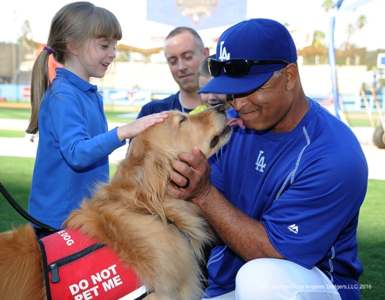 Doc and Dog prior to game against the Cincinnati Reds Tuesday, May 24, 2016 at Dodger Stadium in Los Angeles,California. Photo by Jon SooHoo