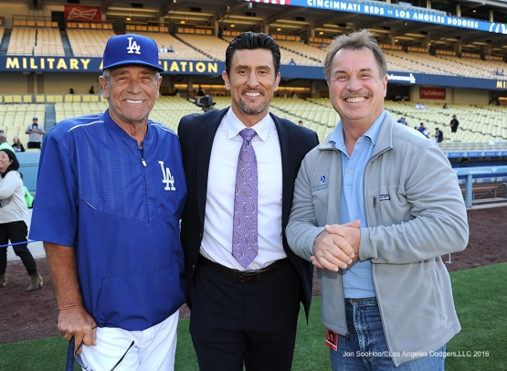 Steve Yeager, Nomar Garciaparra and Ron Cey pose prior to game against the Cincinnati Reds Tuesday, May 24, 2016 at Dodger Stadium in Los Angeles,California. Photo by Jon SooHoo