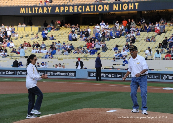 US Army Sergeant, JosŽ Ramos after throwing out the first pitch prior to game against the Cincinnati Reds Tuesday, May 24, 2016 at Dodger Stadium in Los Angeles,California. Photo by Jon SooHoo