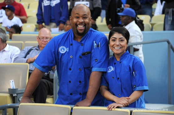 Great Los Angeles Dodgers chefs pose prior to game against the Cincinnati Reds Tuesday, May 24, 2016 at Dodger Stadium in Los Angeles,California. Photo by Jon SooHoo