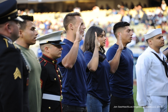 US Armed Forces enlistment ceremony is performed prior to game against the Cincinnati Reds Tuesday, May 24, 2016 at Dodger Stadium in Los Angeles,California. Photo by Jon SooHoo