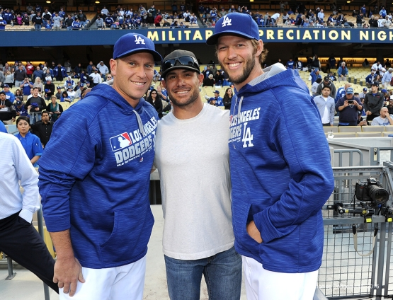 A.J.Ellis and Clayton Kershaw pose with former teammate Skip Schumaker pose prior to game against the Cincinnati Reds Tuesday, May 24, 2016 at Dodger Stadium in Los Angeles,California. Photo by Jon SooHoo