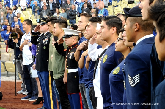 Soldiers and enlistees stand for the anthem prior to game against the Cincinnati Reds Tuesday, May 24, 2016 at Dodger Stadium in Los Angeles,California. Photo by Jon SooHoo