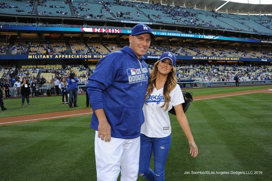 A.J. Ellis poses with Jojo Fletcher prior to game against the Cincinnati Reds Tuesday, May 24, 2016 at Dodger Stadium in Los Angeles,California. Photo by Jon SooHoo