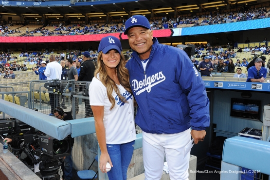 Dave Roberts poses with Jojo Fletcher prior to game against the Cincinnati Reds Tuesday, May 24, 2016 at Dodger Stadium in Los Angeles,California. Photo by Jon SooHoo