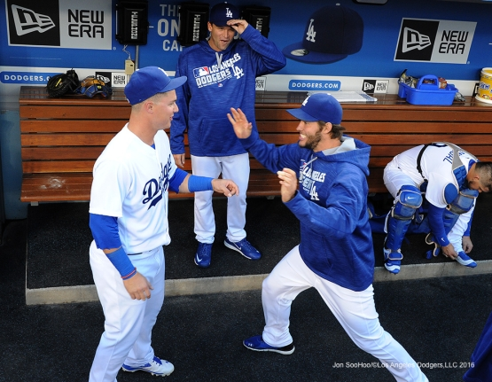 Clayton Kershaw and Joc Pederson prior to game against the Cincinnati Reds Tuesday, May 24, 2016 at Dodger Stadium in Los Angeles,California. Photo by Jon SooHoo