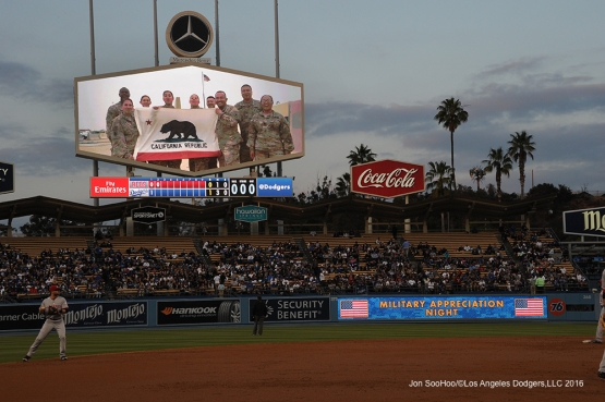 Los Angeles Dodgers celebrate Military Appreciation Night during game against the Cincinnati Reds Tuesday, May 24, 2016 at Dodger Stadium in Los Angeles,California. Photo by Jon SooHoo