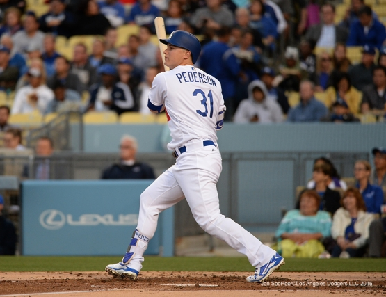 Joc Pederson hits against the Cincinnati Reds Tuesday, May 24, 2016 at Dodger Stadium in Los Angeles,California. Photo by Jon SooHoo