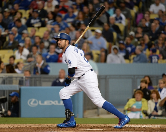 Adrian Gonzalez hits against the Cincinnati Reds Tuesday, May 24, 2016 at Dodger Stadium in Los Angeles,California. Photo by Jon SooHoo
