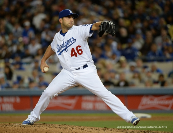 Mike Bolsinger pitches against the Cincinnati Reds Tuesday, May 24, 2016 at Dodger Stadium in Los Angeles,California. Photo by Jon SooHoo