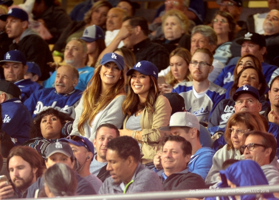 Great Los Angeles Dodger fans pose during game against the Cincinnati Reds Tuesday, May 24, 2016 at Dodger Stadium in Los Angeles,California. Photo by Jon SooHoo