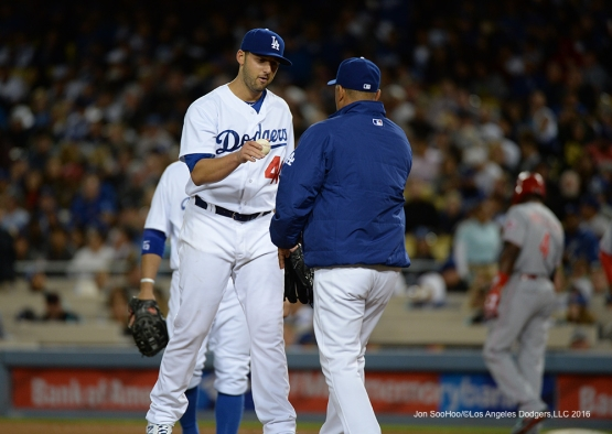 Mike Bolsinger comes out of the game against the Cincinnati Reds Tuesday, May 24, 2016 at Dodger Stadium in Los Angeles,California. Photo by Jon SooHoo