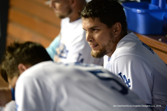 Luis Avilan in the dugout during game against the Cincinnati Reds Tuesday, May 24, 2016 at Dodger Stadium in Los Angeles,California. Photo by Jon SooHoo