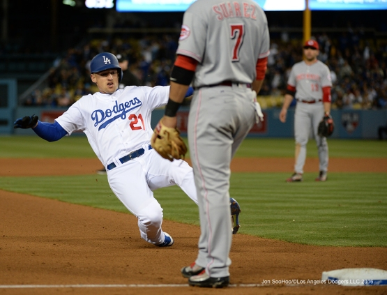 Trayce Thompson slides into third during game against the Cincinnati Reds Tuesday, May 24, 2016 at Dodger Stadium in Los Angeles,California. Photo by Jon SooHoo
