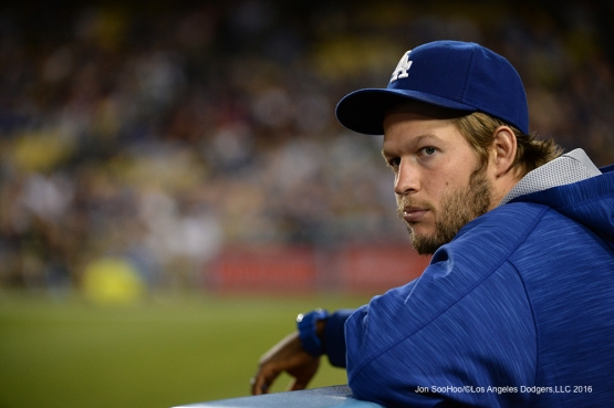 Clayton Kershaw watches game against the Cincinnati Reds Tuesday, May 24, 2016 at Dodger Stadium in Los Angeles,California. Photo by Jon SooHoo