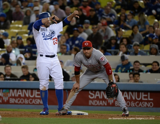 Adrian Gonzalez and Joey Votto during game against the Cincinnati Reds Tuesday, May 24, 2016 at Dodger Stadium in Los Angeles,California. Photo by Jon SooHoo