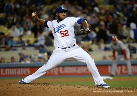 Pedro Baez pitches during game against the Cincinnati Reds Tuesday, May 24, 2016 at Dodger Stadium in Los Angeles,California. Photo by Jon SooHoo