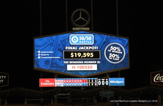 Los Angeles Dodgers 50/50 jackpot during game against the Cincinnati Reds Tuesday, May 24, 2016 at Dodger Stadium in Los Angeles,California. Photo by Jon SooHoo