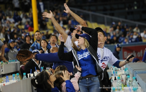 Foul Ball Follies during game against the Cincinnati Reds Tuesday, May 24, 2016 at Dodger Stadium in Los Angeles,California. Photo by Jon SooHoo