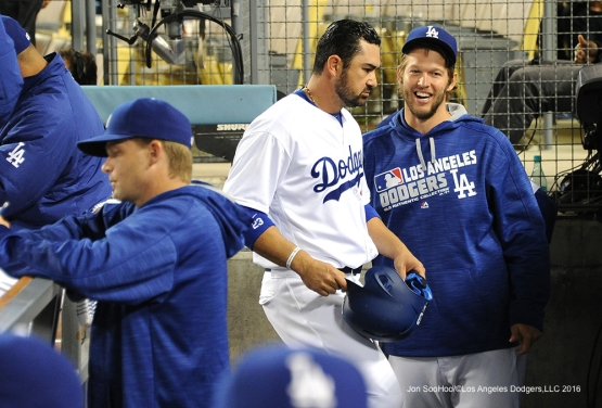 Adrian Gonzalez and Clayton Kershaw during game against the Cincinnati Reds Tuesday, May 24, 2016 at Dodger Stadium in Los Angeles,California. Photo by Jon SooHoo