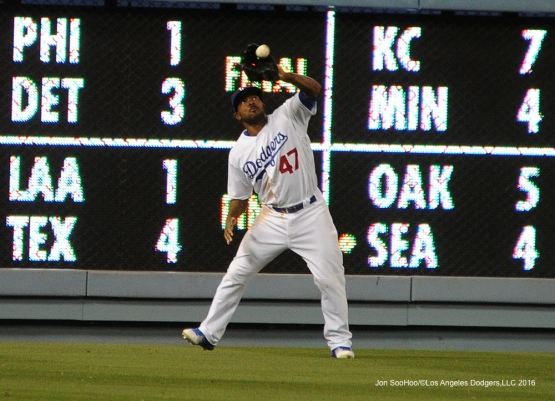 Howie Kendrick catches ball  against the Cincinnati Reds Tuesday, May 24, 2016 at Dodger Stadium in Los Angeles,California. Photo by Jon SooHoo