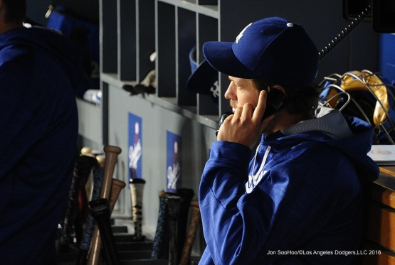 Los Angeles Dodgers Clayton Kershaw on the bullpen phone during game against the Cincinnati Reds Tuesday, May 24, 2016 at Dodger Stadium in Los Angeles,California. Photo by Jon SooHoo