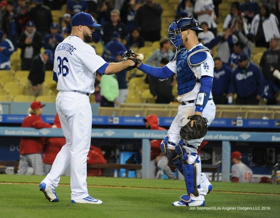 Adam Libertore and A.J. Ellis finish off the Reds Tuesday, May 24, 2016 at Dodger Stadium in Los Angeles,California. Photo by Jon SooHoo