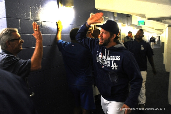 Clayton Kershaw celebrates win against the Cincinnati Reds Tuesday, May 24, 2016 at Dodger Stadium in Los Angeles,California. Photo by Jon SooHoo