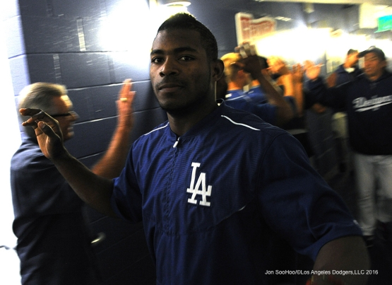Yasiel Puig celebrates win against the Cincinnati Reds Tuesday, May 24, 2016 at Dodger Stadium in Los Angeles,California. Photo by Jon SooHoo