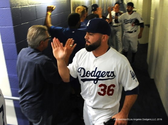 Adam Liberatore celebrates after win against the Cincinnati Reds Tuesday, May 24, 2016 at Dodger Stadium in Los Angeles,California. Photo by Jon SooHoo