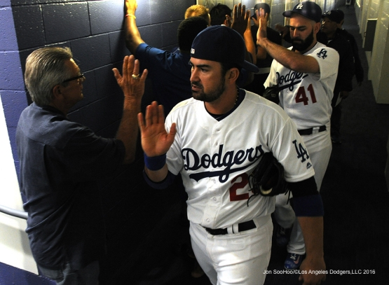 Los Angeles Dodgers Adrian Gonzalez after win  against the Cincinnati Reds Tuesday, May 24, 2016 at Dodger Stadium in Los Angeles,California. Photo by Jon SooHoo