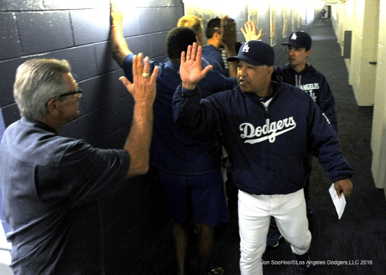 Dave Roberts celebrate win against the Cincinnati Reds Tuesday, May 24, 2016 at Dodger Stadium in Los Angeles,California. Photo by Jon SooHoo