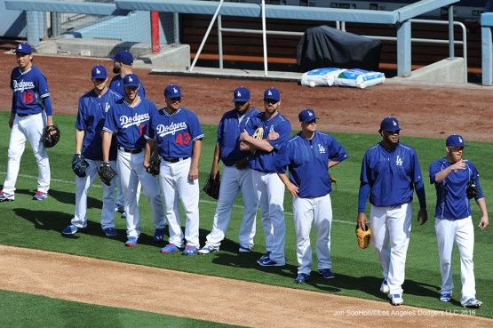 Los Angeles Dodgers workout  prior to game against the Cincinnati Reds Wednesday, May 25, 2016 at Dodger Stadium in Los Angeles,California. Photo by Jon SooHoo
