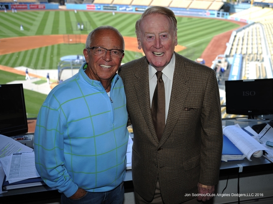 Marty Brennaman and Vin Scully pose prior to game against the Cincinnati Reds Wednesday, May 25, 2016 at Dodger Stadium in Los Angeles,California. Photo by Jon SooHoo