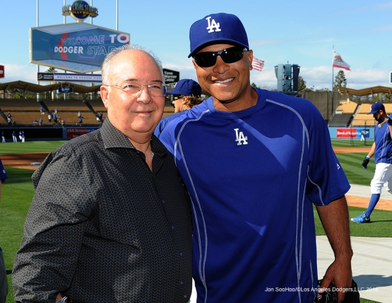 Joe Hernandez and Dave Roberts pose prior to game against the Cincinnati Reds Wednesday, May 25, 2016 at Dodger Stadium in Los Angeles,California. Photo by Jon SooHoo