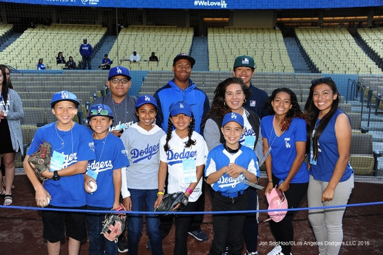 Great Los Angeles Dodgers Foundation kids pose prior to game against the Cincinnati Reds Wednesday, May 25, 2016 at Dodger Stadium in Los Angeles,California. Photo by Jon SooHoo