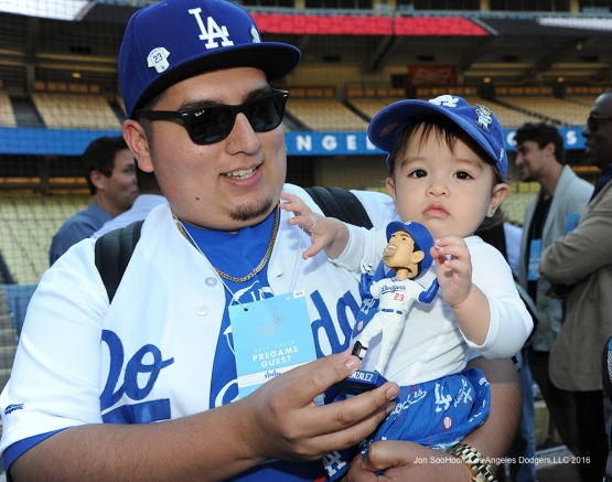 Great Los Angeles Dodger fans pose prior to game against the Cincinnati Reds Wednesday, May 25, 2016 at Dodger Stadium in Los Angeles,California. Photo by Jon SooHoo
