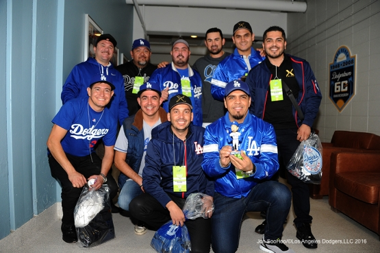 Guests of Adrian Gonzalez pose prior to game against the Cincinnati Reds Wednesday, May 25, 2016 at Dodger Stadium in Los Angeles,California. Photo by Jon SooHoo