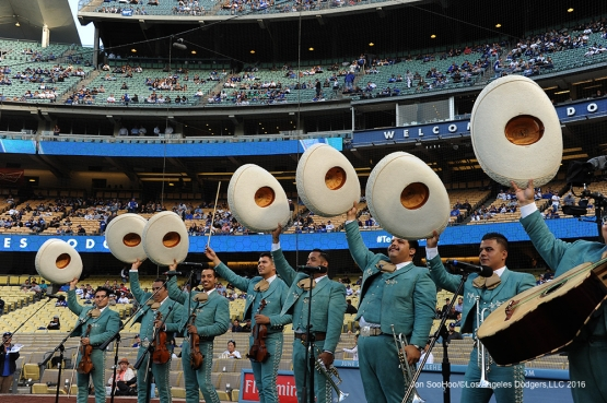 Mariachi Los Reyes wave to the crowd prior to game against the Cincinnati Reds Wednesday, May 25, 2016 at Dodger Stadium in Los Angeles,California. Photo by Jon SooHoo