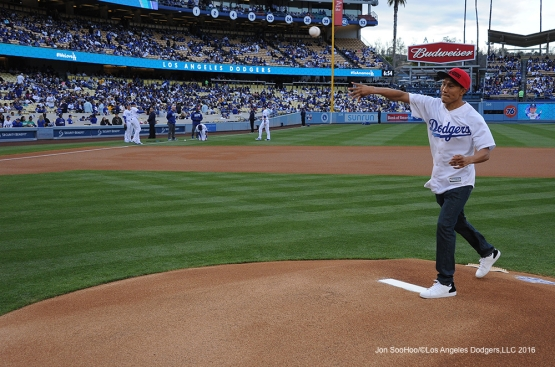 Boxer Fernando Vargas throws out the first pitch prior to game against the Cincinnati Reds Wednesday, May 25, 2016 at Dodger Stadium in Los Angeles,California. Photo by Jon SooHoo