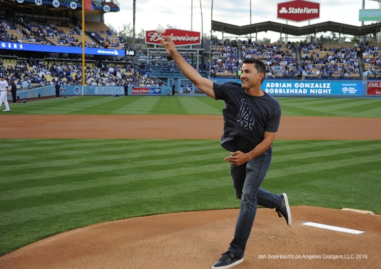 Edgar Gonzalez throws out the first pitch prior to game against the Cincinnati Reds Wednesday, May 25, 2016 at Dodger Stadium in Los Angeles,California. Photo by Jon SooHoo
