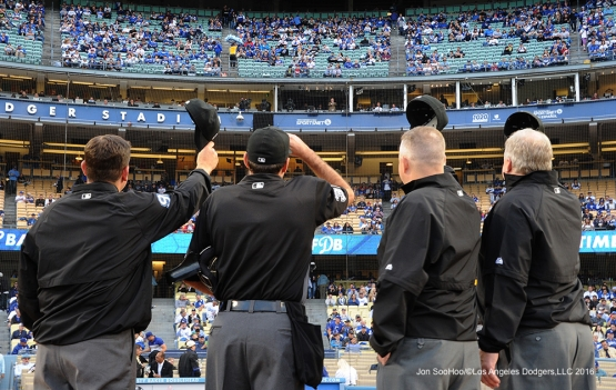Umpires wave to Vin prior to game against the Cincinnati Reds Wednesday, May 25, 2016 at Dodger Stadium in Los Angeles,California. Photo by Jon SooHoo