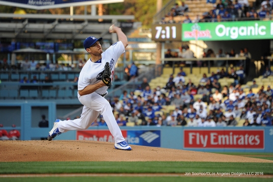 Scott Kazmir pitches against the Cincinnati Reds Wednesday, May 25, 2016 at Dodger Stadium in Los Angeles,California. Photo by Jon SooHoo
