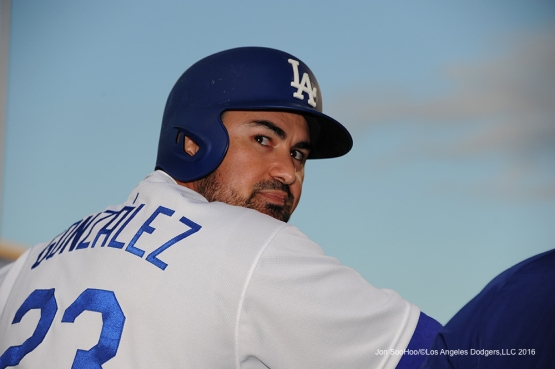 Adrian Gonzalez during game against the Cincinnati Reds Wednesday, May 25, 2016 at Dodger Stadium in Los Angeles,California. Photo by Jon SooHoo
